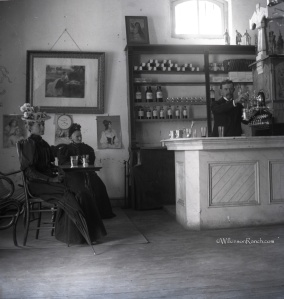 Two ladies letting their hair down at a drugstore soda fountain in the later part of the 19th century. Black was a big hit with the Victorian crowd. Photo courtesy of Wilkinson Ranch. All rights reserved, apparently.